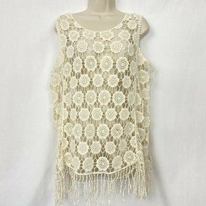 Cato Crochet Lace Top XL Beige Sheer Boho Floral